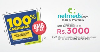 Netmeds MRP Ka The End Offer Flat 15% OFF on All Medicines + Extra 20% NMS Supercash