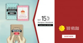 100yellow 100 Yellow Offer : Get 15% OFF on Designer Notebooks