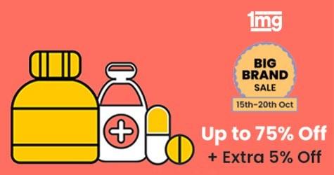 Big Brand Sale : Upto 75% OFF + Extra 5% OFF (15 Oct to 20 Oct '20)