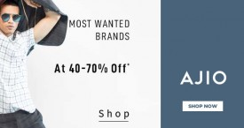 Ajio 40% - 50% OFF on Most Wanted Brands