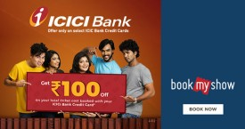 Bookmyshow ICICI Bank Credit Cards: Rs. 100 Off.