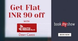 Bookmyshow Get Flat INR 90 OFF with South Indian Debit Cards