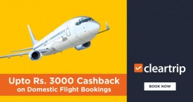 Cleartrip Upto Rs. 3000 Cashback on Domestic Flights