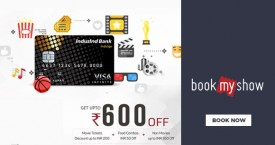 Bookmyshow Induslnd Crest Credit Card Offer : Buy 1 Get 1 movie ticket free + INR 50 Off on Food Combos