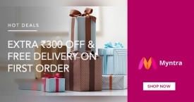 Myntra Myntra New User Offer - Extra Rs. 300 Off & Free Delivery.