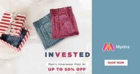 Myntra Upto 50% Off on Men's Innerwear Fest.