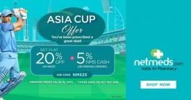 Netmeds Asia Cup Offer Flat 20% OFF + Extra 5% NMS Cash on Prepaid Orders