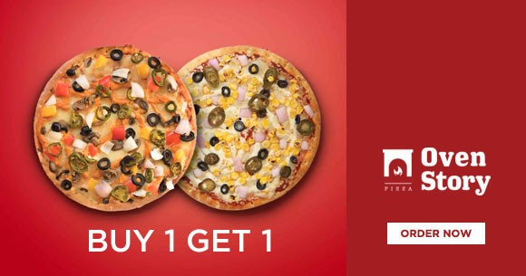 Special Offer : Buy 1 Get 1 Free on Pizza
