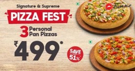 Pizza hut Pizza Fest : 3 Personal Pan Pizzas Starting At Rs. 499