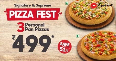 Pizza Fest : 3 Personal Pan Pizzas Starting At Rs. 499