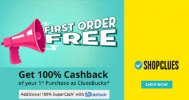Shopclues Get 100% Cashback* on First Order @ Shopclues