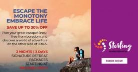 Sterlingholidays Best Deal : Get Upto 30% OFF on Adventurous Trip