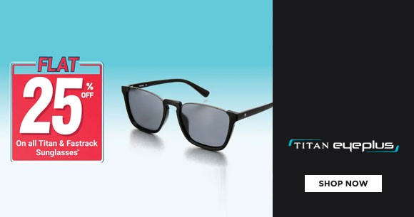 Hot Sale : Flat 25% Off on Titan & Fastrack Sunglasses