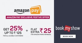 Bookmyshow Amazon Pay Cashback Offer : Get Flat 25% OFF Upto Rs. 125