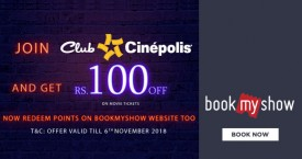 Bookmyshow Bookmyshow Cinepolis Offer : Join Club Cinepolis And Get Rs. 100 OFF