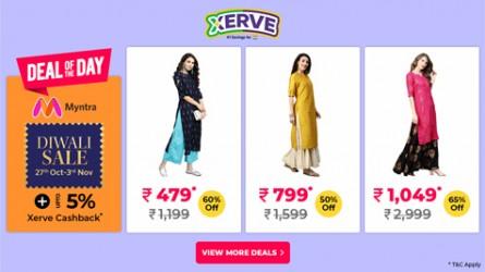 Myntra Flat 50% - 80% Off* on Kurtas, Lehenga Cholis etc. @ Myntra's Diwali Sale