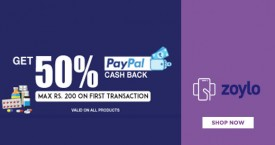 Zoylo Paypal Offer : Get 50% Cashback Upto Rs.200 on First Transaction