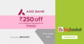 Bigbasket Axis Bank Offer - Rs. 250 OFF on Min Transaction Of Rs. 1000