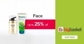 Bigbasket Get Upto 25% OFF on Facecare