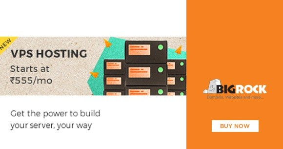Great Deal : VPS Hosting Starting at Rs. 555