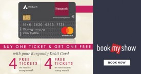 Bookmyshow Axis Bank Burgundy Debit Card Offer : Buy 1 Ticket & Get 1 Free
