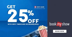 Bookmyshow HDFC Bank Timescard Offer : Get 25% OFF on Purchase Of Movie Tickets