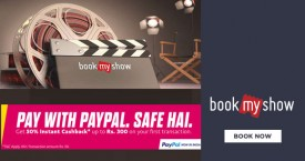 Bookmyshow BMS Paypal Offer : Get 50% Cashback Upto Rs. 300 on First Transaction