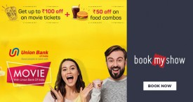 Bookmyshow Union Bank Debit and Credit Card Offer : Get 20% Off on Purchase of movie Tickets.