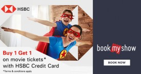 Bookmyshow HSBC Credit Card Offer : Buy 1 Get 1 on Movie Tickets