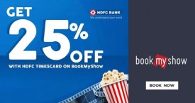 Bookmyshow Get 25% OFF on HDFC Timescard
