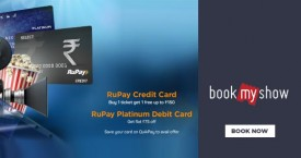 Bookmyshow Rupay Credit Card & Debit Card Offer : Buy 1 Get 1 Free Upto Rs. 150