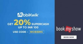 Bookmyshow Mobikwik Offer : Get 20% SuperCash Upto Rs. 100 on all categories