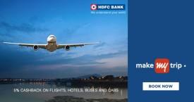 Makemytrip MMT HDFC Bank Offer : Get Upto 5% Cashback on Flights, Hotels, Buses And Cabs