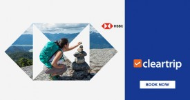 Cleartrip Upto Rs.2,800 instant savings on Domestic Flights & Hotels with HSBC Credit Cards
