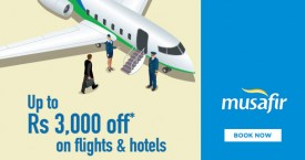Musafir Standard Chartered Offers - Upto Rs. 3000 OFF On Flights And Hotels