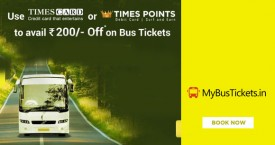 Mybustickets MBT Times Card Offer : Get Upto Rs. 200 OFF on Bus Tickets