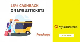 Mybustickets Freecharge Offer : Get 15% Cashback on Mybustickets