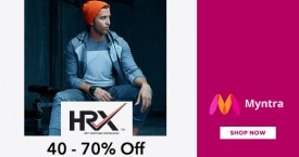 Myntra Upto 40% - 70% OFF on HRX Clothing & Accessories At Myntra