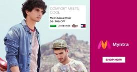 Myntra 30% - 70% OFF on Men's Casual Wear