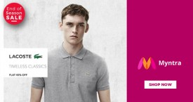 Myntra Flat 40% OFF on Lacoste