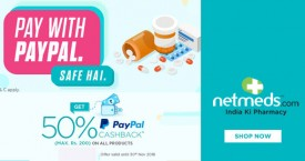 Netmeds Netmeds Paypal Offer : Get 50% Cashback Upto Rs.200 on All Products