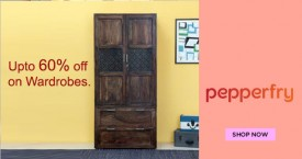 Pepperfry Upto 60% Off on Wardrobes.