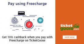 Ticketgoose Get 10% OFF Cashback When U Pay With Freecharge on Ticketgoose
